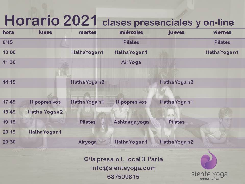 Horario 2021 clases presenciales y on-line