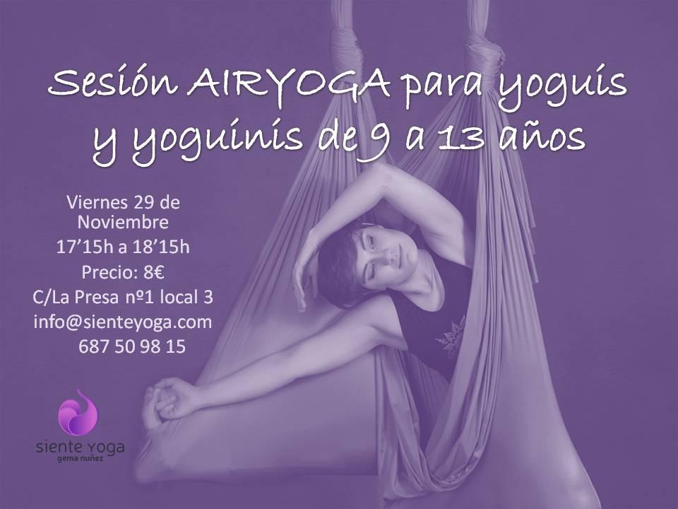Sesión AIRYOGA para yoguis y yoguinis de 9noviembre