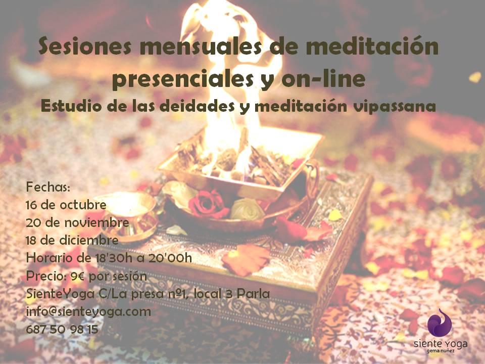 Sesiones mensuales de meditación presenciales y on-lineok